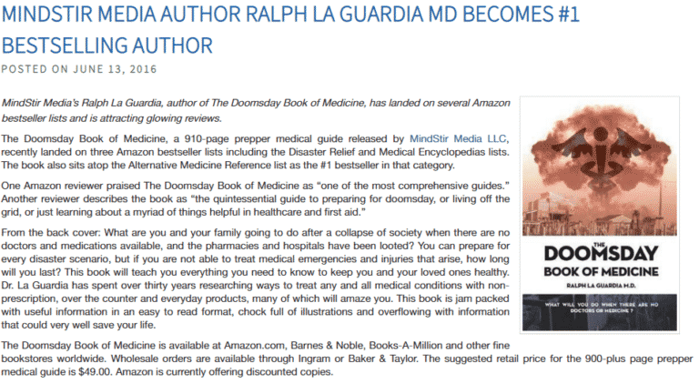 RALPH LA GUARDIA MD BECOMES #1 BESTSELLING AUTHOR