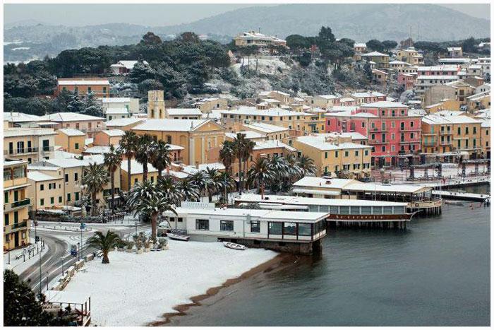 Isola d'Elba con la neve