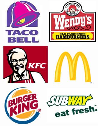 Логотипы ресторанов быстрого питания