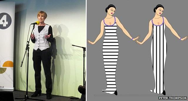 Val Watham и рисунок, показывающий эффект полос на платье