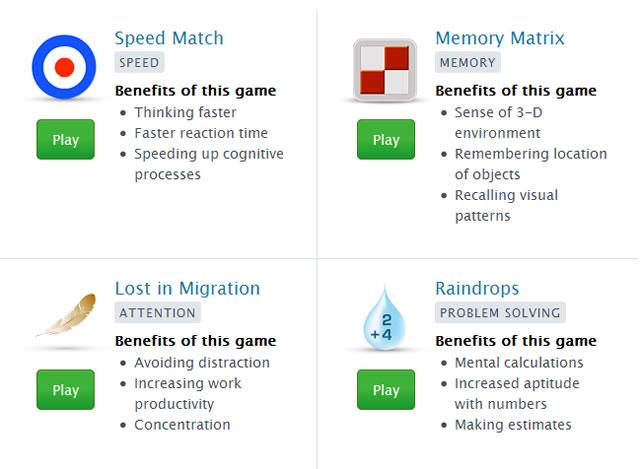 4 игры летних игр Lumosity