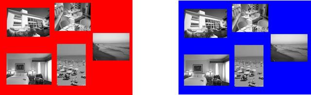 Представление тура на красном и синем фонах