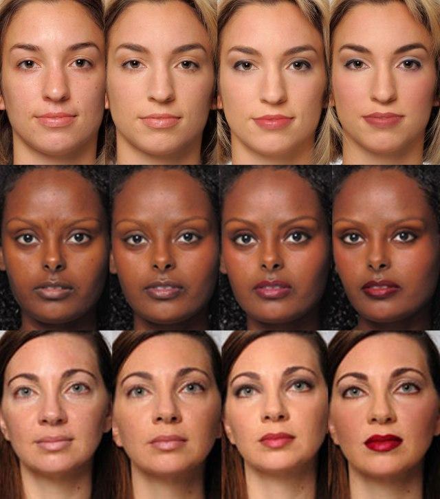 женщины без макияжа и с разным видом макияжа