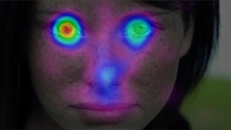тепловая карта просмотра лица девушки