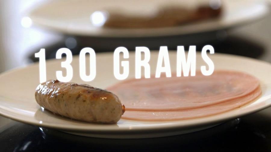 как выглядят 130 грамм мяса