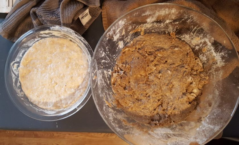 sourdough bread leaven and mix
