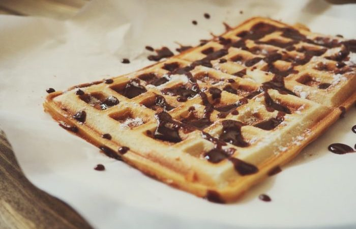 waffles with chocolate drizzle