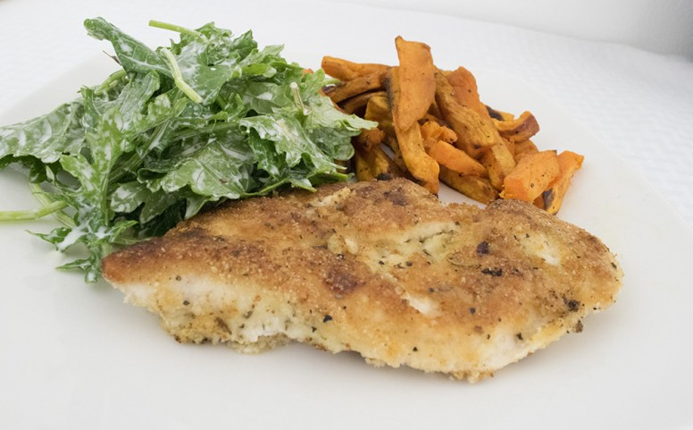 Chicken with kale and sweet potatoes