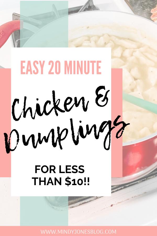Easy 20 Minute Chicken & Dumplings Less Than $10