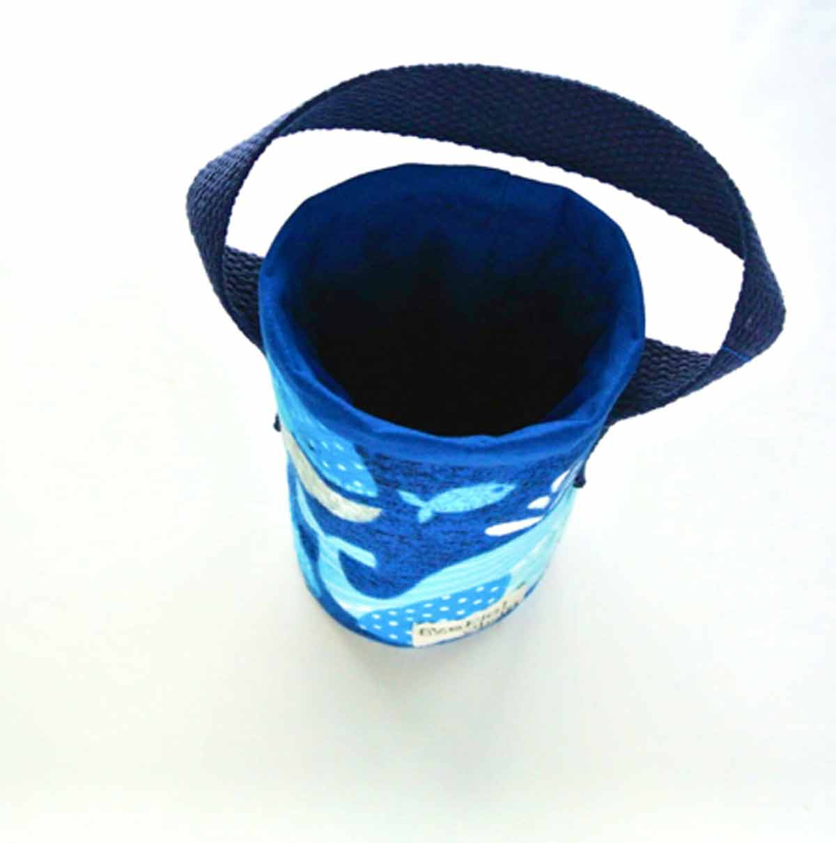 Finished top view of DIY Insulated Water Bottle Holder Bag Carrier with Small Name Tag on Side