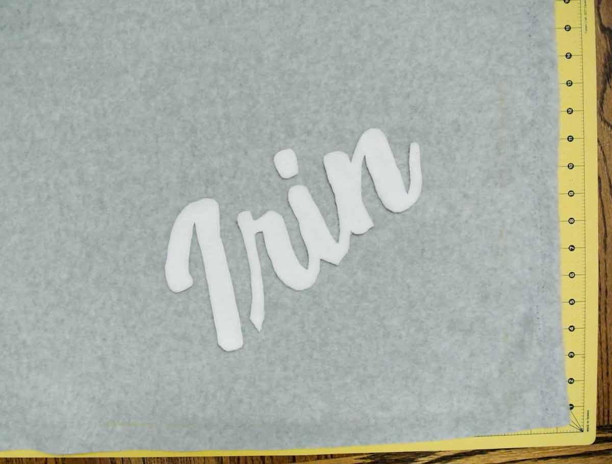 Placing Letter Applique on Blanket
