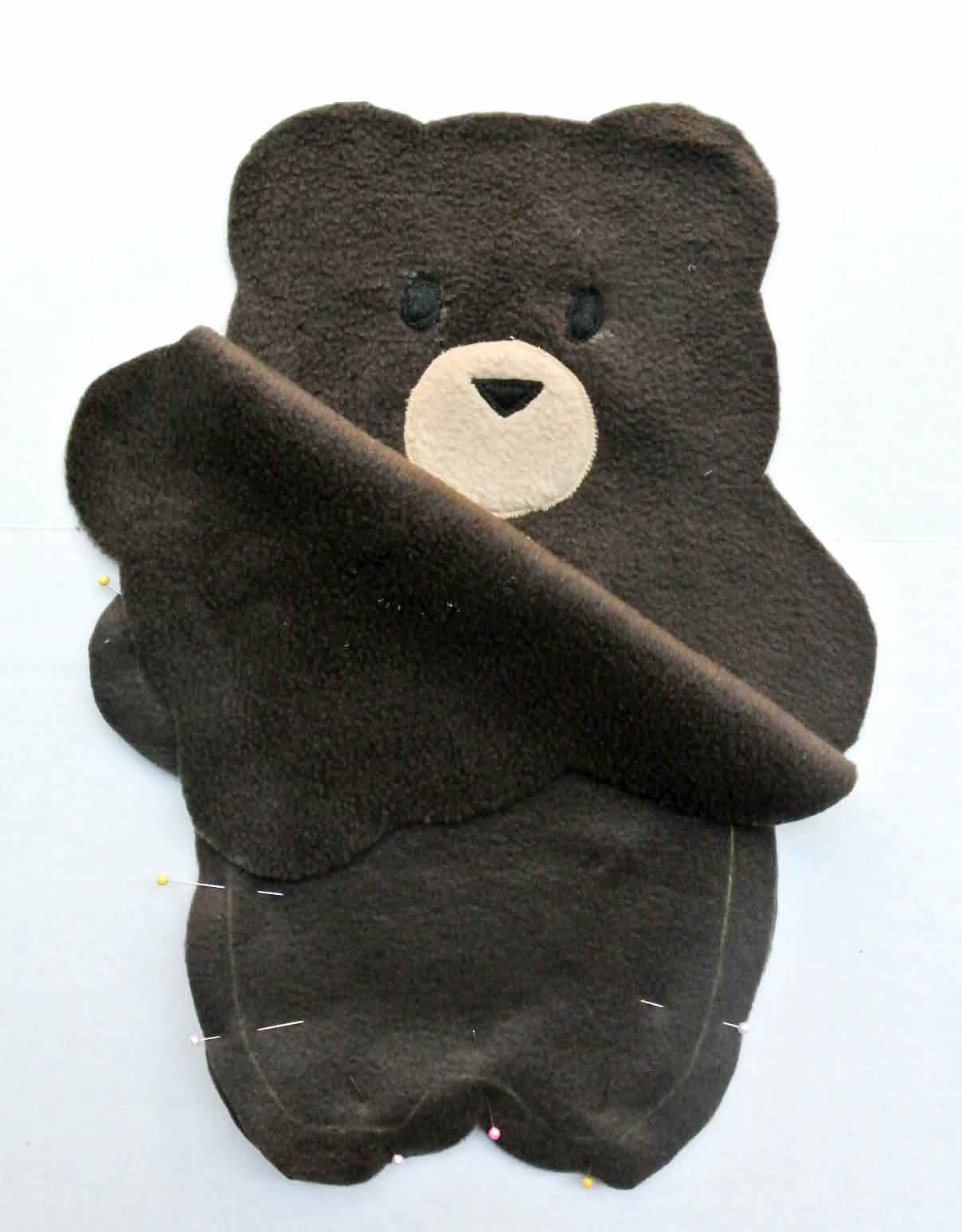 Bear plush placing right sides of fabric together and pinned. How to Make Plushie Tutorial
