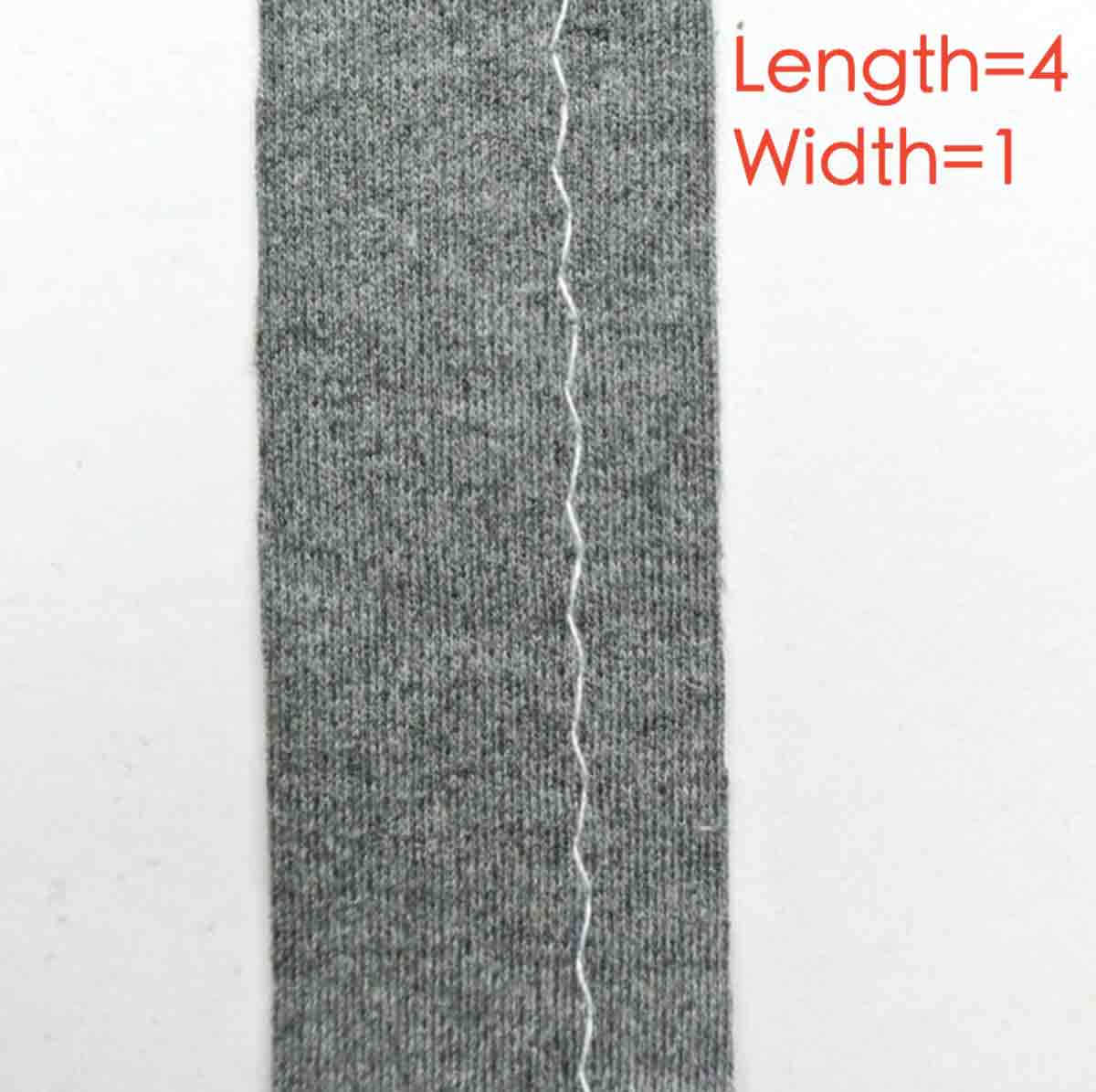 Long and narrow zigzag stitch. Length=4, width =1