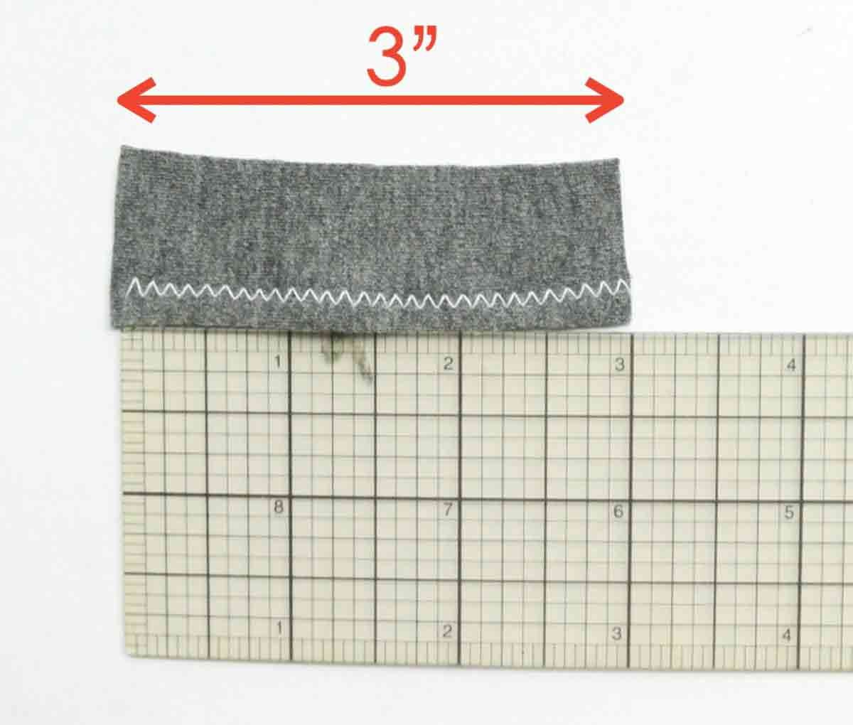 Shot and wide zigzag stitch measuring 3 inches on a rule