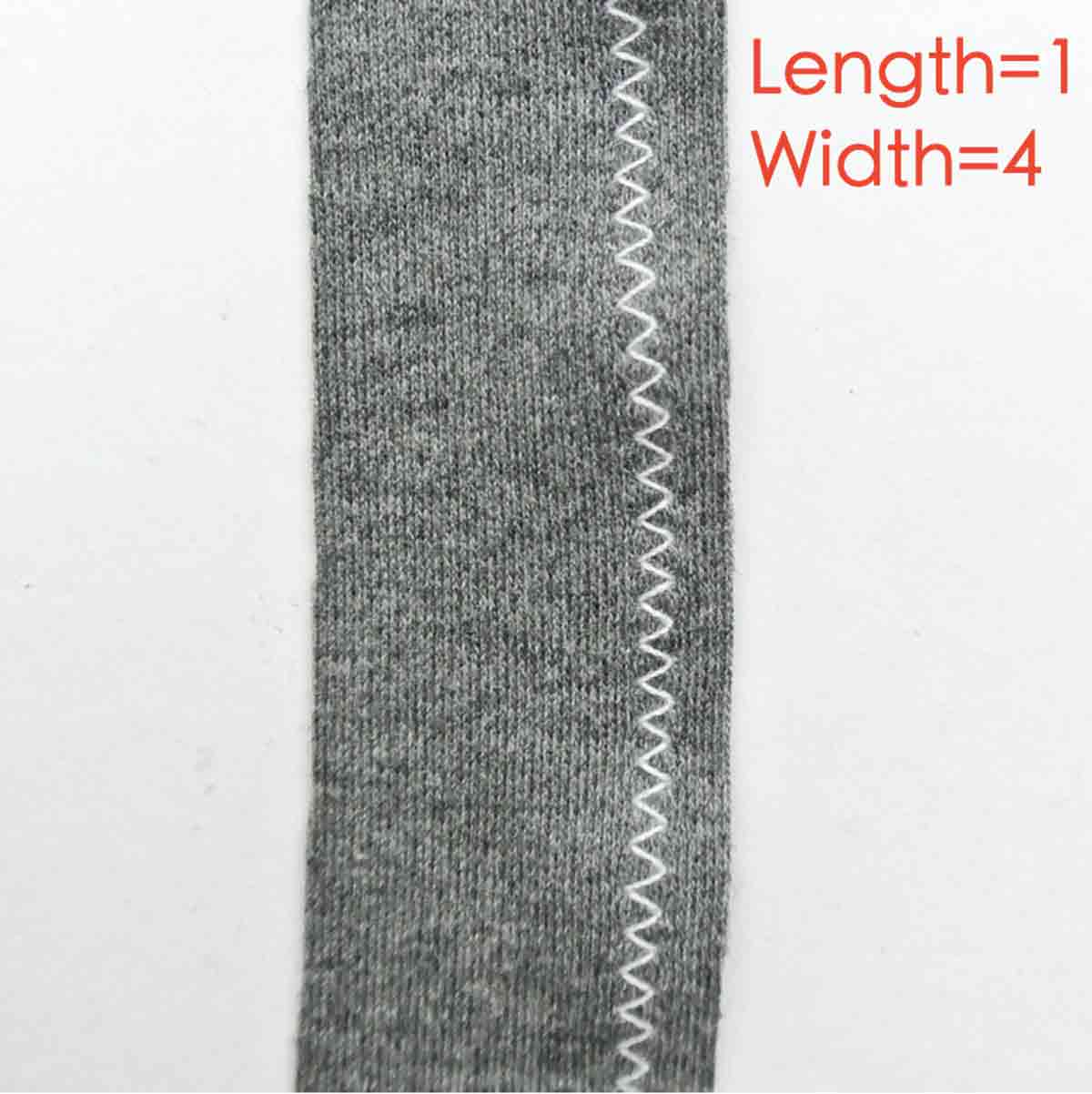Short and wide zigzag stitch with length set at 1 and width set at 4