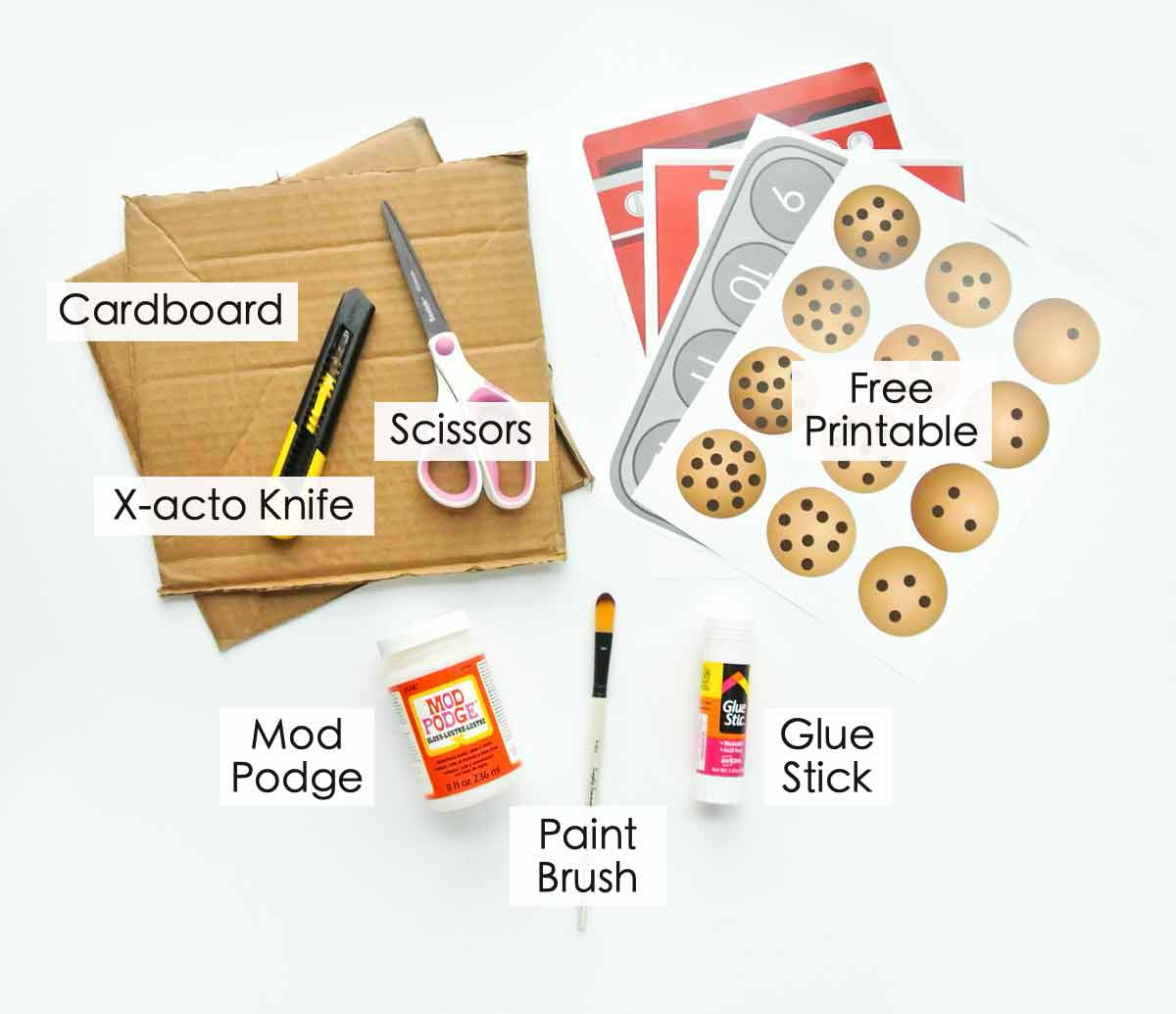 Toddler Cookie Counting Activity Materials with text overlay