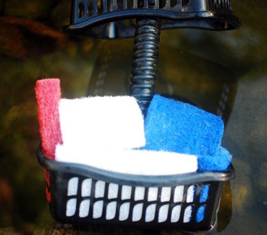 Waterfall Pump Clog 06_Detail of Plastic Mesh Sorting Bins and pot scrubbers