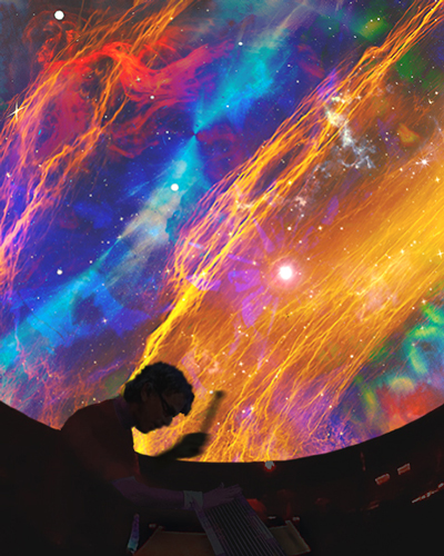 Image of Mickey Hart and Mind Your Head psychedelic stage projection