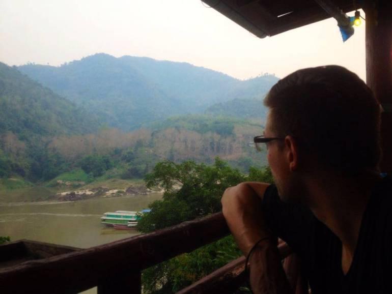 Blick von Restaurant auf Mekong Pakbeng