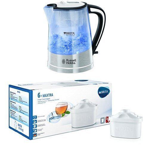 Russell Hobbs Purity 1.5L water filter kettle bundle (chrome) (6 months of Brita Maxtra) (6 cartridges) (3000w)