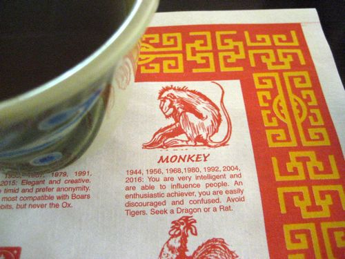 Vietnamese restaurant with a Vietnamese/Chinese zodiac placemat -- always a good sign.  I'm a monkey... shocking, I know.