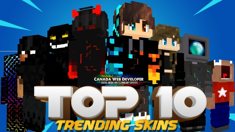 Looking for a fresh style? These skins will blow you away! Here is the first release of Top 10 for Minecraft! For all gamers. 10 HD (128px) skins including: - 9 trending outfits - 1 exclusive free skin by: Dannny0117 Created and Published by: Dannny0117 + Canada Web Developer.