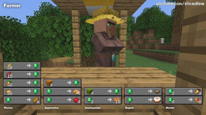 Comercio de intercambio de aldea de minecraft de granjero