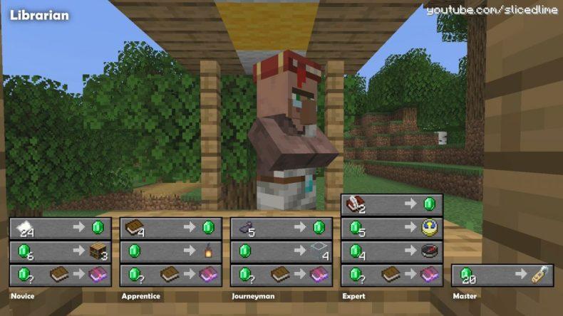 Comercio de intercambio de aldea de libreros de Minecraft