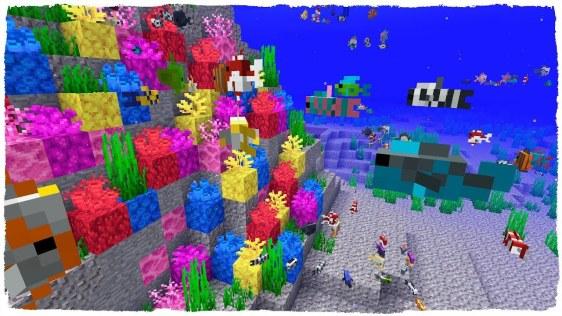 Abanicos de coral y peces tropicales - instantánea de Minecraft 18w16a
