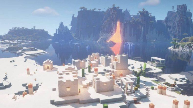 semilla minecraft 1.16 lava caída colina pico