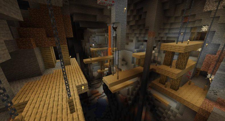 Cadena y pilar de madera para pozos mineros