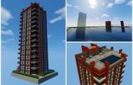 Bloque de apartamentos con piscina Minecraft