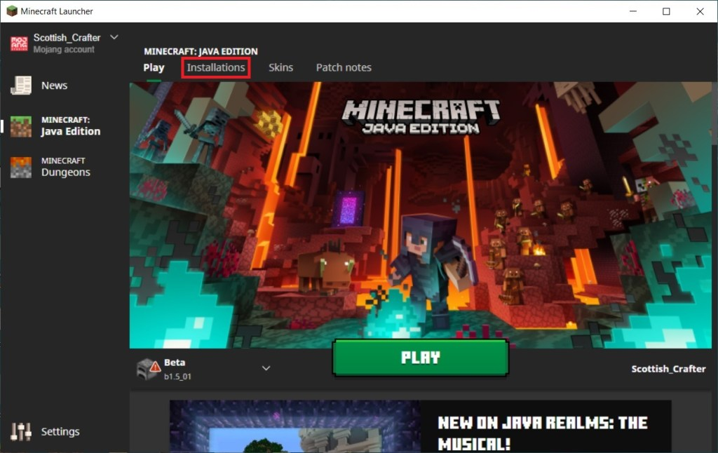 Minecraft launcher with installations highlighted