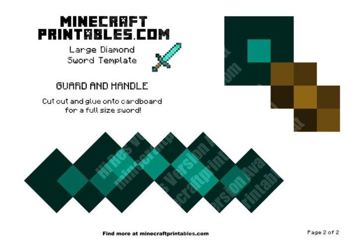 diamond sword printable minecraft template - Minecraft Papercraft Diamond