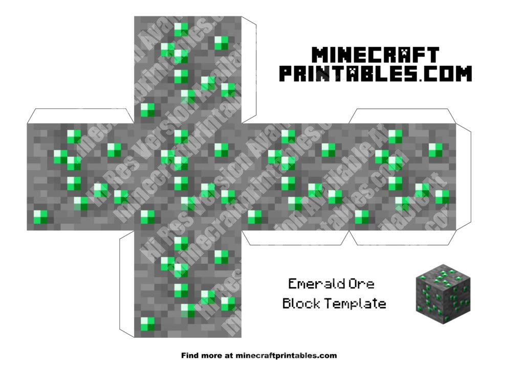 Minecraft Papercraft Emerald