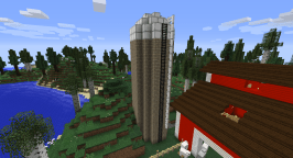 The materials I used for the exterior were fir wood, platinum, and dark iron.