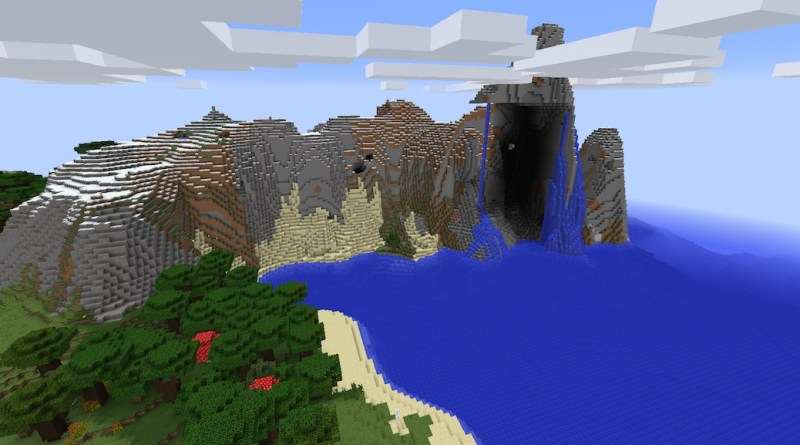 Pc 1 8 Beautiful Mountain Seed With Waterfalls And Lava