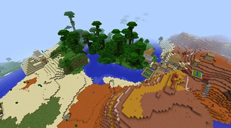 PC 1 12] Village + Desert Temple where 4 biomes meet | Minecraft Seeds