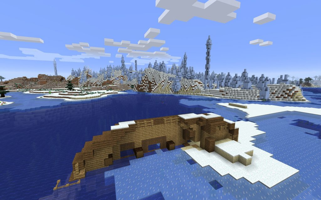 Shipwreck In The Land Of Ice Spikes Minecraft Seed HQ
