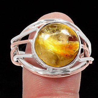Golden rutile bague