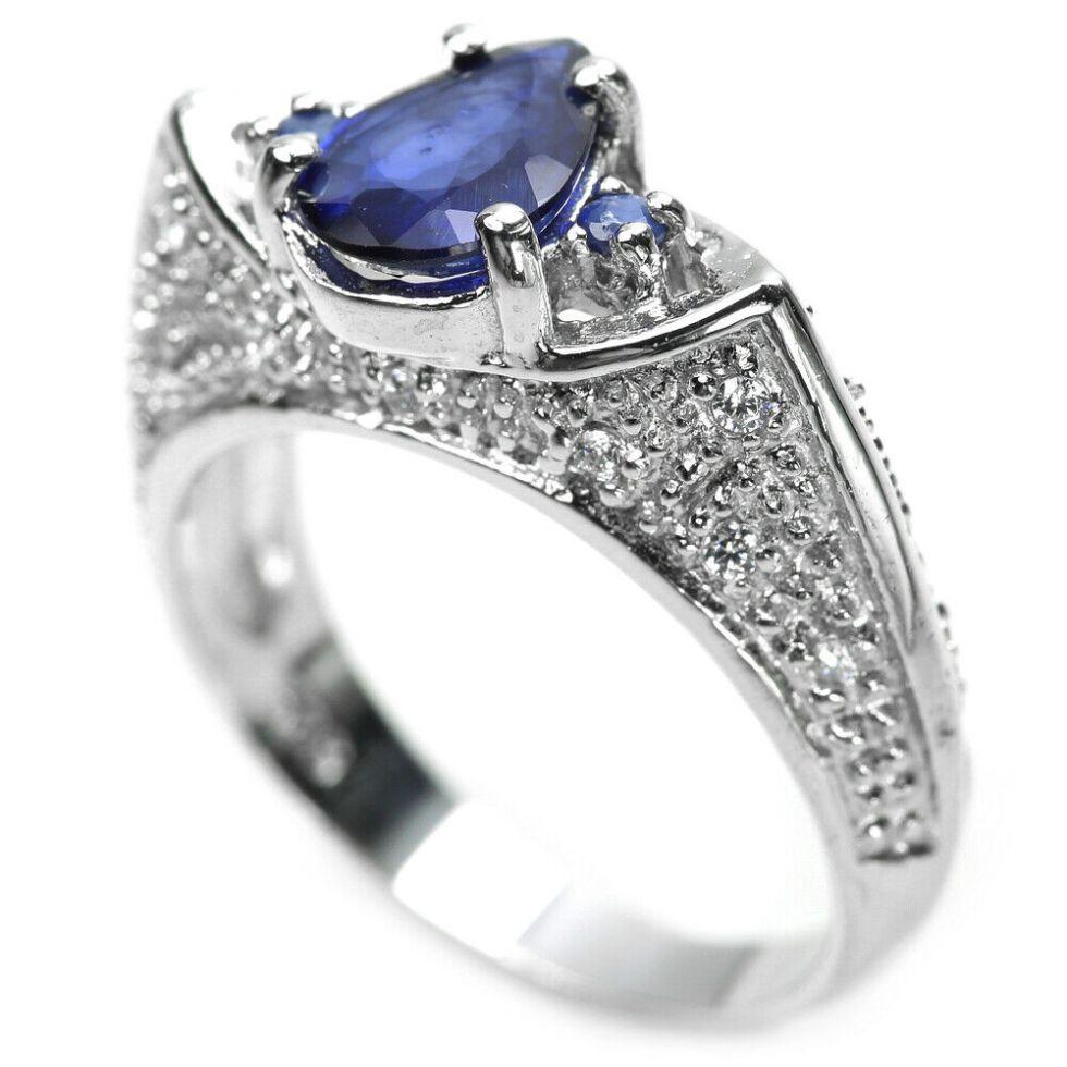 Bague – Saphir bleu – argent sterling 925
