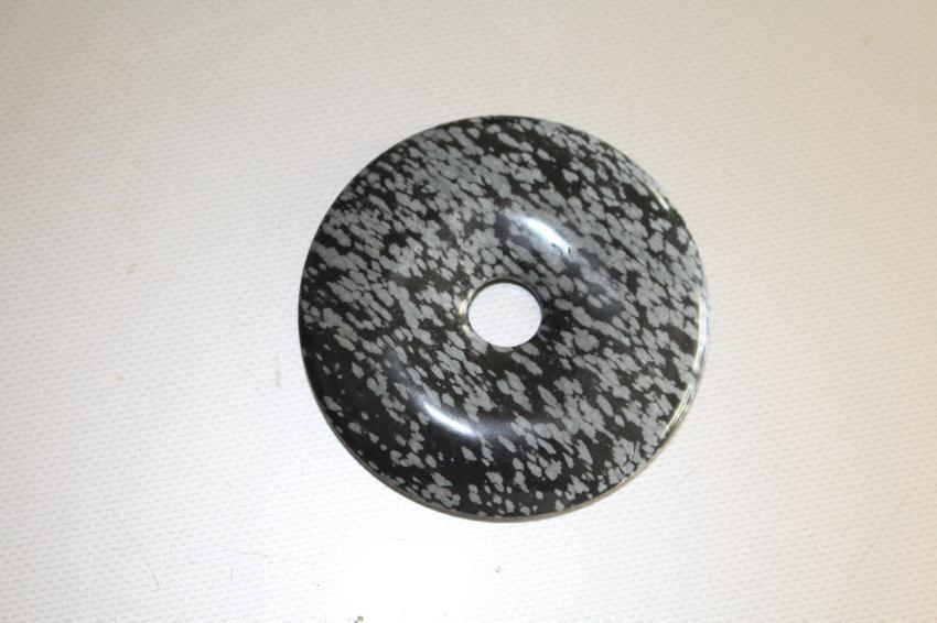 Donuts en Obsidienne Neige 60mm – Trou 10mm