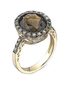 Anillo de oro y diamantes de cuarzo ahumado
