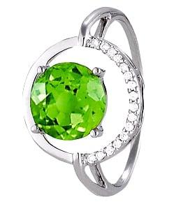 Anillo de peridoto con diamantes