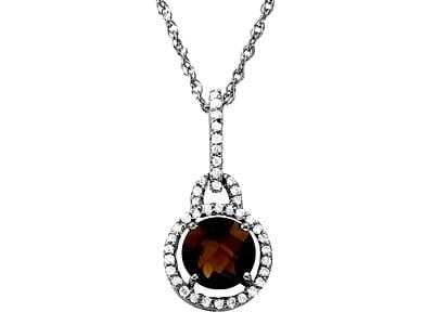 Colgante de diamantes de cuarzo ahumado