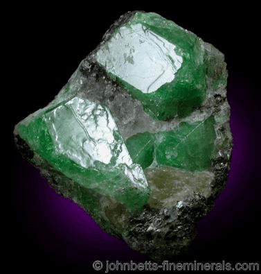 Cristales de tsavorita en matriz