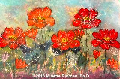 Field of Joy - Mixed Media Red Flowers