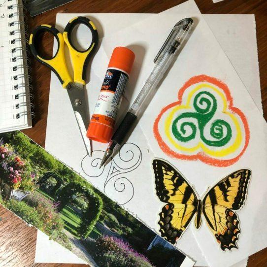 creative play, triskelion, celtic symbols, collage, creative play