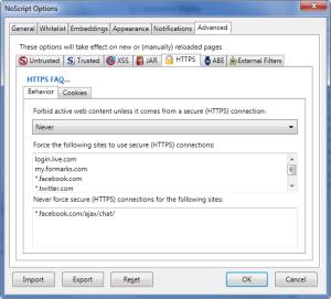 NoScript - HTTPS Settings