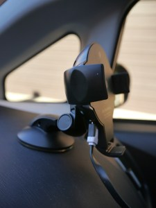 Side view of the iOttie car mount where the USB cable is attached